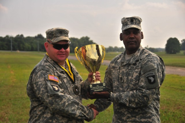 Command Sgt. Maj. Alonzo Smith, command sergeant major of the 101st Airborne Division (Air Assault) and Fort Campbell, Ky., presents the First Place Marksmanship Competition Trophy to Sgt. 1st Class Ted Maust of 1st Battalion, 502nd Infantry Regiment, 2nd Brigade Combat Team, who was representing the Strike team. The Strike Brigade was the over all winner of the 2012 Week of the Eagles Marksmanship Competition and won the Long Range Stress Shoot event as well as the Squad Battle Position event.