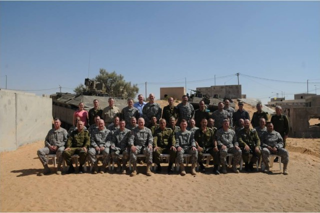 The Future Battlefield Conference XXI delegation at the National Training Center in the Negev Desert. (Courtesy photo)