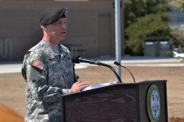 Maj. Gen. Bill Gerety, commander 80th Training Command addresses the audience during the building dedication ceremony in honor of Staff Sgt. Robert Hernandez at Camp Parks Calif., August 17, 2012. Hernandez was a U.S. Army Reserve Soldier who died after a roadside bomb exploded near his Humvee while he was traveling in a convoy of vehicles in Taquaddum, Iraq, March 28, 2006.