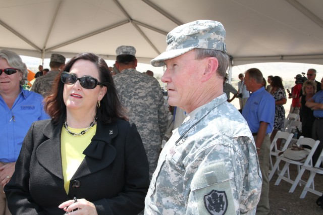 Gen. Martin E. Dempsey, chairman of the Joint Chiefs of Staff, and Katherine Hammack, assistant secretary of the Army for installations, energy and environment, discuss Tooele Army Depot's Solar Array project in Utah, and the importance renewable energy has on installation security. When completed the solar array could generate energy equivalent to that needed to supply 300-400 homes, 30 percent of the depot's electricity.