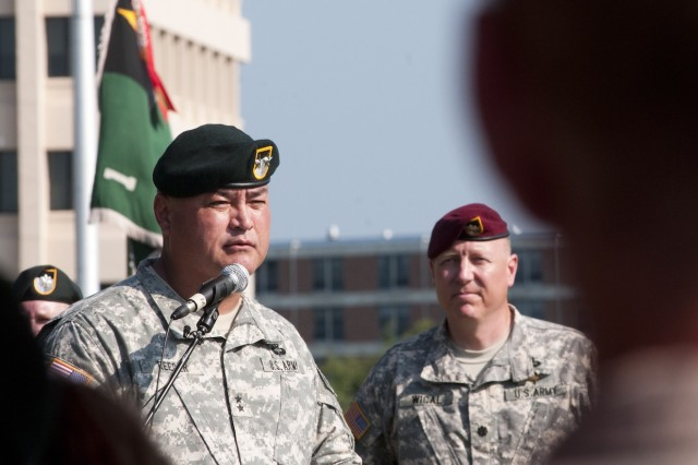 Maj. Gen. Edward M. Reeder, Jr. addresses an audience of U.S. Special Operations Command personnel and guests, including the Soldiers under his former command at the U.S. Army Special Forces Command (Airborne) and those under his new command at the U.S. Army John F. Kennedy Special Warfare Center and School, during a SWCS change of command ceremony Aug. 16 on Fort Bragg, N.C. (U.S. Army photo by Dave Chace, SWCS Public Affairs Office)