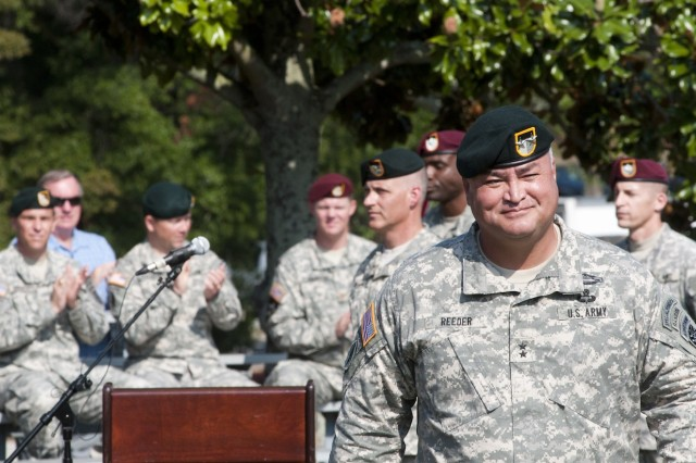 Maj. Gen. Edward M. Reeder, Jr. returns to his seat after delivering his remarks upon assuming command of the U.S. Army John F. Kennedy Special Warfare Center and School Aug. 16 on Fort Bragg, N.C. (U.S. Army photo by Dave Chace, SWCS Public Affairs Office)