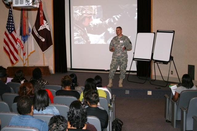 Col. Christopher Castle, the Dwight David Eisenhower Army Medical Center Commander, addresses the PEBLOS and IDES Leadership at the beginning of the Integrated Disability Evaluation System Customer Service Training at DDEAMC on Fort Gordon, Ga. which is presented by the Office of the Surgeon General of the Army training team on August 20, 2012. IDES combines the Army Medical Board process and the Veterans Affairs process for disability evaluation to allow the Soldier to complete both processes so that care and compensation are ready for the wounded veteran once they leave Army service. (DoD Photo by Wesley Elliott, DDEAMC Public Affairs Officer, U.S. Army/Released)