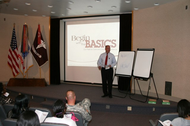 Fred Larson, Special Assistant to the OTSG, Trains PEBLOS and IDES Leadership at the Integrated Disability Evaluation System Customer Service Training at DDEAMC on Fort Gordon, Ga. which is presented by the Office of the Surgeon General of the Army training team on August 20, 2012. IDES combines the Army Medical Board process and the Veterans Affairs process for disability evaluation to allow the Soldier to complete both processes so that care and compensation are ready for the wounded veteran once they leave Army service. (DoD Photo by Wesley Elliott, DDEAMC Public Affairs Officer, U.S. Army/Released