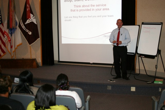 Fred Larson, Special Assistant to the OTSG, Trains PEBLOS and IDES Leadership at the Integrated Disability Evaluation System Customer Service Training at DDEAMC on Fort Gordon, Ga. which is presented by the Office of the Surgeon General of the Army training team on August 20, 2012. IDES combines the Army Medical Board process and the Veterans Affairs process for disability evaluation to allow the Soldier to complete both processes so that care and compensation are ready for the wounded veteran once they leave Army service. (DoD Photo by Wesley Elliott, DDEAMC Public Affairs Officer, U.S. Army/Released)