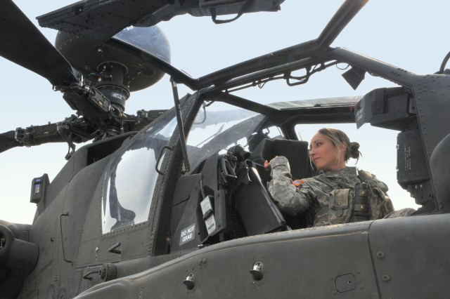 Chief Warrant Officer 2 Laura Tanski performs a few pre-flight checks on an Apache Block III helicopter, Aug. 16, 2012, at Marshall Army Airfield on Fort Riley, Kan. Tanski is one of less than 20 female Army aviators who fly for the 1st Infantry Division's Combat Aviation Brigade.