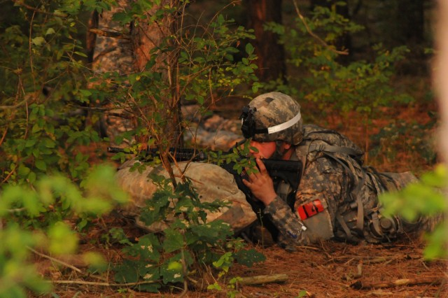 Spc. Dustin Marks, 511th Military Police Company, 91st Military Police Battalion, waits to begin the culminating event of the 10th Mountain Division (LI) Best Medic Competition.
