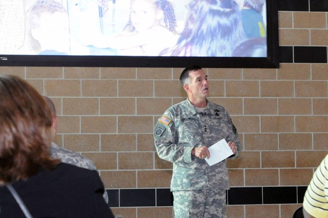 "FORT SAM HOUSTON, Texas - Lt. Gen. William Caldwell IV, commanding general, U.S. Army North, and senior commander, Fort Sam Houston and Camp Bullis, kicks off the 2012-2013 school year with an address to Fort Sam Houston Independent School District administrators, teachers and staff Aug. 21 at the Robert G. Cole Middle School. Caldwell discussed the challenges and opportunities associated with working with military children, and thanked school district employees for all they do. ""Every day you are preparing them for the future, using your own time after school and on weekends,"" said Caldwell. ""You're helping to raise our children, serving as role models and instilling values."" (U.S. Army photo by Sgt. Lee Ezzell, Army North PAO)"