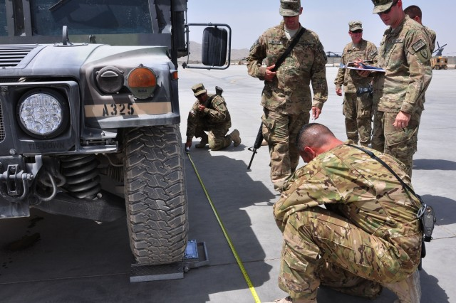 Soldiers with both Task Force War Eagle and Task Force Storm measure and weigh a High-Mobility Multipurpose Wheeled Vehicle during a Unit Movement Officer Rodeo competition on August 15, 2012 at Kandahar Airfield. The Task Forces had to complete measuring and weighing the vehicle within a 45 minute window to gain points for the competition. (U.S. Army photo by Sgt. Gregory Williams)