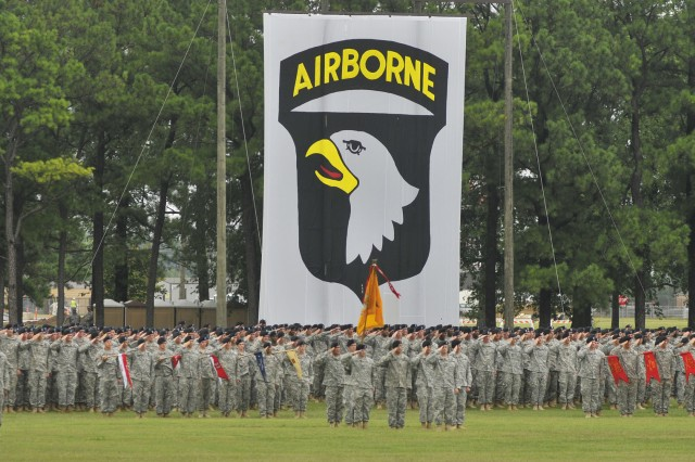 "101st Airborne Division Soldiers salute during the Division pass and review, Aug. 17, 2012. The ceremony was the final event in the ""Week of the Eagles 2012: A History of Valor."" This year marks the 70th anniversary of the 101st Airborne Division."