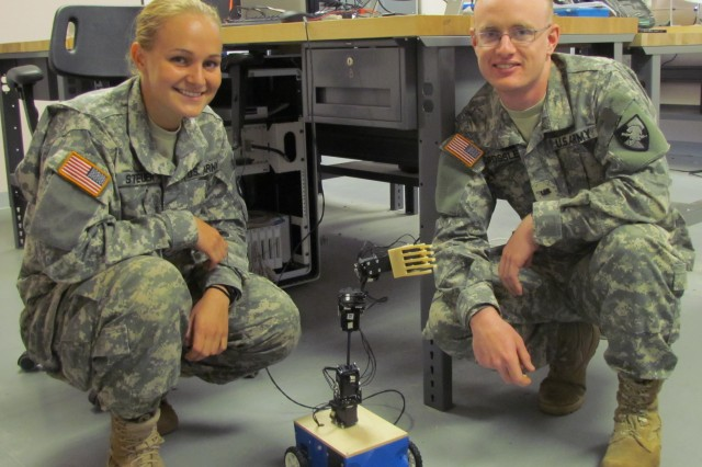West Point Cadets Julianne Steurer and David Crossley were tasked with designing, building, programming and operating a robotic arm using Dynamixel motors.
