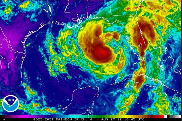 Army and Air National Guard elements throughout the southeastern United States are preparing for Tropical Storm Isaac, which is making its way past the Florida Keys and into the Gulf of Mexico. Pictured here is a satellite image of Isaac bearing down on Louisiana, Mississippi, Alabama and the Florida panhandle.