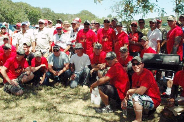 """American Bass Anglers and 29 Airmen, Soldiers and Marines from McConnell Air Force Base in Wichita Kan. at the """"Take an Airman"""" fishing day July 21 at Big Hill Lake in southeastern Kansas."""