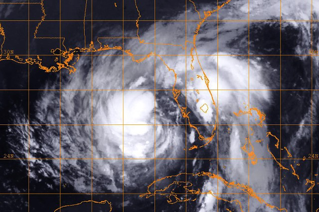 An infrared satellite image of Tropical Storm Isaac provided by the U.S. Naval Research Laboratory in Monterey, Calif., Aug. 27, 2012, shows the storm at 1:00 a.m. EST. Isaac is expected to strengthen into a hurricane and impact the U.S. Gulf Coast.