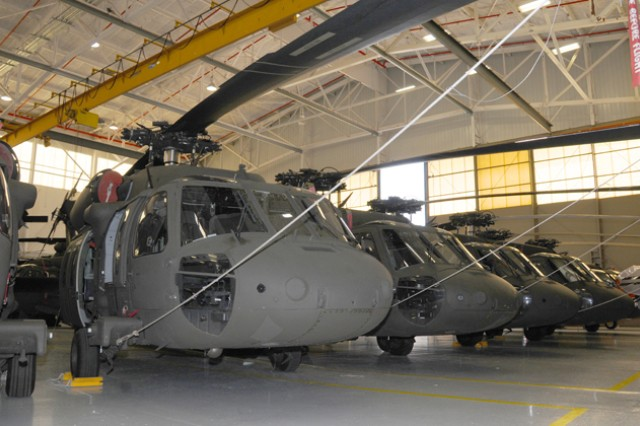 UH-60 Black Hawk helicopters were stacked inside a hangar at Lowe Army Heliport in preparation for anticipated severe weather from Tropical Storm Isaac.