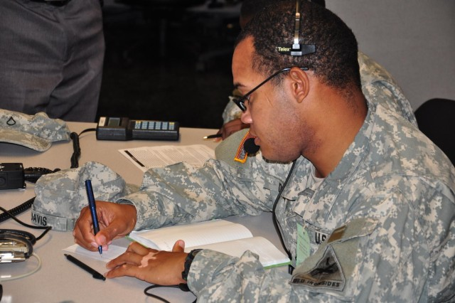 Pfc. Walter Davis, a Bradley fighting vehicle system maintainer, 1st Battalion, 1st Cavalry Regiment, 2nd Heavy Brigade Combat Team, coordinates signal support as part of the company command post exercise, Aug. 23, 2012, at Fort Bliss, Texas.