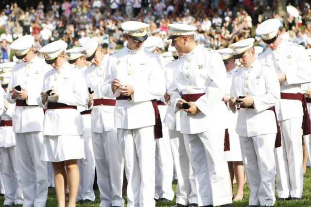"With the words, ""Class of 2013, don your rings,"" the cadets open the boxes in near unison and place the rings on their fingers. Afterward, they are joined on the field by family and friends to celebrate the occasion which is followed by other Ring Weekend activities such as a formal banquet and hop."