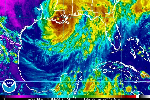 "Satellite infrared ""rainbow view"" of Hurricane Isaac, over the Gulf of Mexico. The Louisiana National Guard has pre-staged approximately 680 troops and assets across the New Orleans metropolitan area in order to better protect the community and its citizens as Hurricane Isaac churns toward the Gulf coast."
