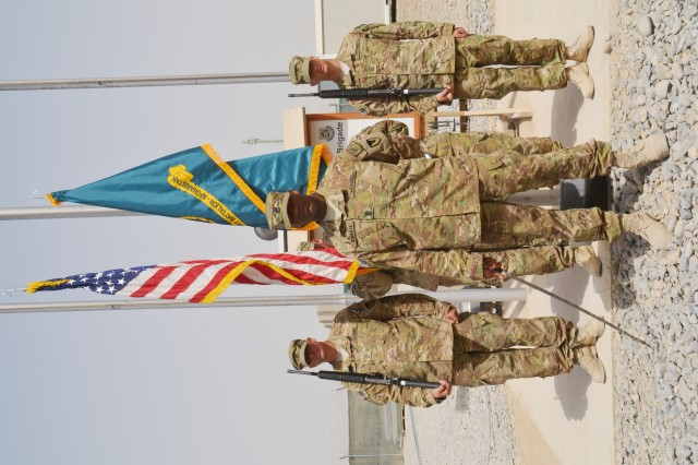 Sergeant Maj. Joseph Roberts stands in front of the color guard during a Change of Responsibility ceremony held at AFSBn-Kandahar Aug. 27 in which Roberts became the senior non-commissioned officer in the battalion.