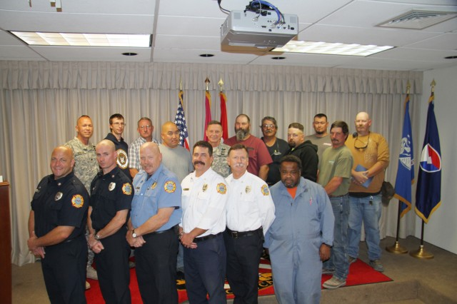 Employees from the Fire Department and Roads & Grounds Branch were reconginzed by Maj. Gen. Michael Terry for their outstanding efforts in the recent fires around Sierra Army Depot.