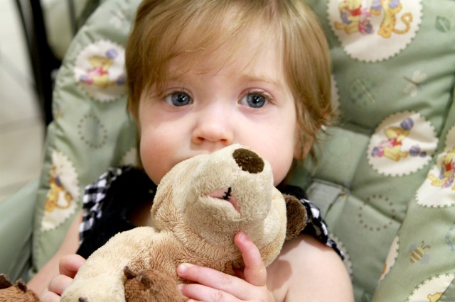 """Abigail Barbatoe sits with her cleft palate teddy bear, Clefty. Monte's Bears for Clefts is an organization that was started by a mother and a grandmother of a little boy named Monte who had a cleft lip and palate. People can sponsor a teddy bear that has a matching scar to children who are undergoing surgery for cleft lips or cleft palates. """"Clefty pretty much goes everywhere we go. I remember before Abi had her first surgery we just got her [teddy bear] in the mail and I cried. I cried, because somebody understood,"""" said Aunna Barbatoe, Abigail's mom."""