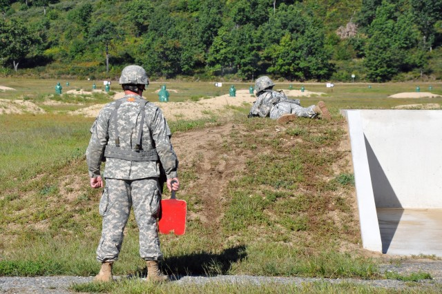 A Soldier from the 181st Engineer Co. engages three-dimensional targets at the new Echo Range on Fort Devens, Mass.