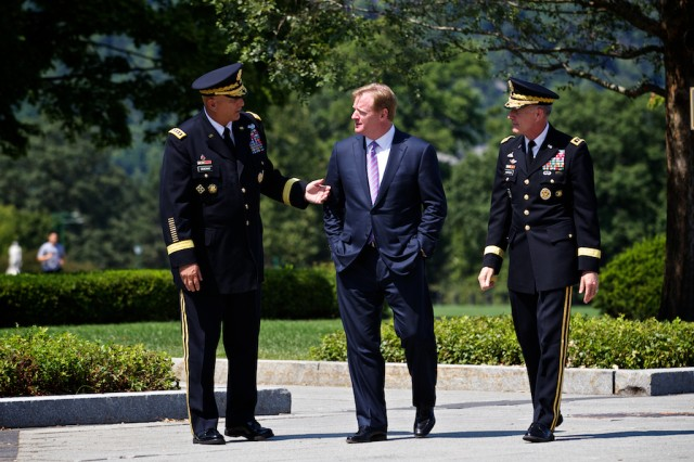 U.S. Army Chief of Staff Ray Odierno speaks with NFL commissioner Roger Goodell and Lt. Gen. David H. Huntoon Jr. prior to the signing a letter Aug. 30 formalizing the initiative between the Army and the NFL to help raise awareness about traumatic brain injury.