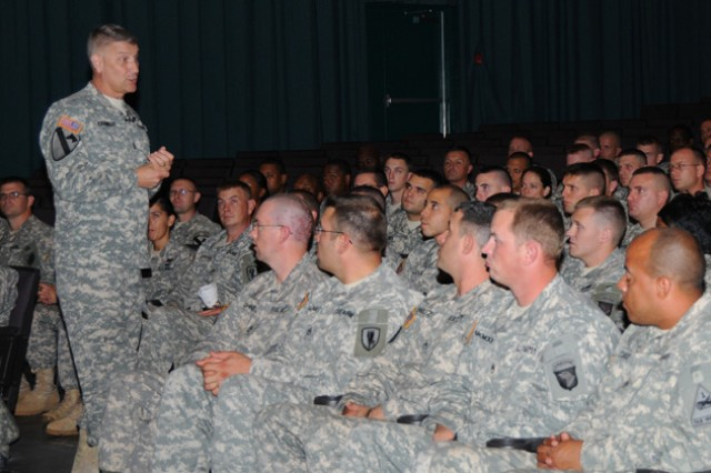 Sgt. Maj. of the Army Raymond F. Chandler III speaks to NCOs at the post theater during his visit to Fort Rucker Aug. 22.