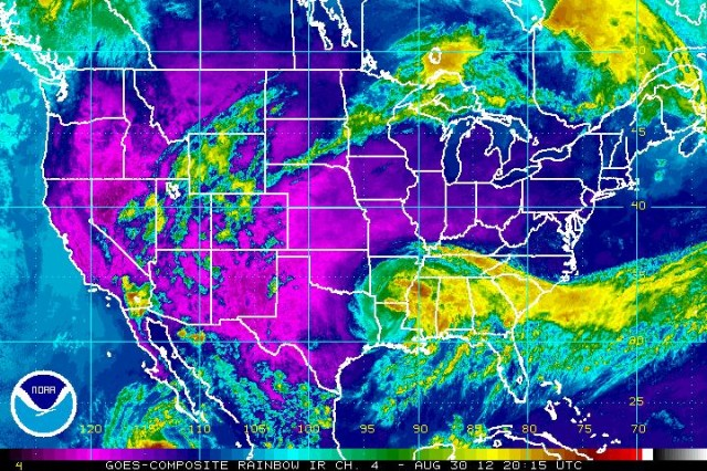 """Satellite infrared """"rainbow view"""" of now """"tropical storm"""" Isaac."""