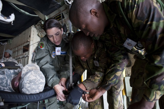 U.S. forces perform mass casualty evacuation training with Botswana Defence Force