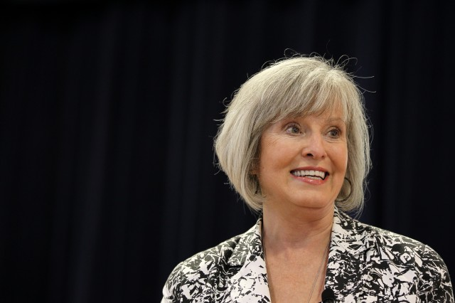 Jan Fox, a former television reporter and anchor, speaks during the Women's Equality Day Observance on Aug. 23 at McGill Training Center. Using her own life as an example, Fox explained how women can live full lives.