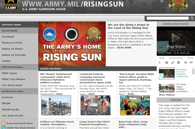 U.S. Army Japan news will be hosted exclusively online at www.army.mil/RisingSun following the final print edition of the newspaper Sept. 20, 2012.