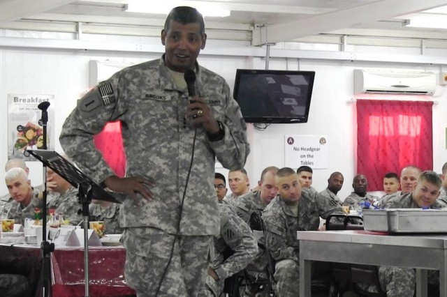 Lt. Gen. Vincent K. Brooks, commanding general, Third Army/U.S. Army Central, speaks to Soldiers deployed to Camp Buehring, Kuwait, Sept. 1, 2012, at a spiritual fitness breakfast with the goal of raising their spiritual level to that of their physical level. The Army is using the Comprehensive Soldier Fitness program to make today's soldiers more balanced individuals by strengthening their physical, family, social, emotional and spiritual fitness level.