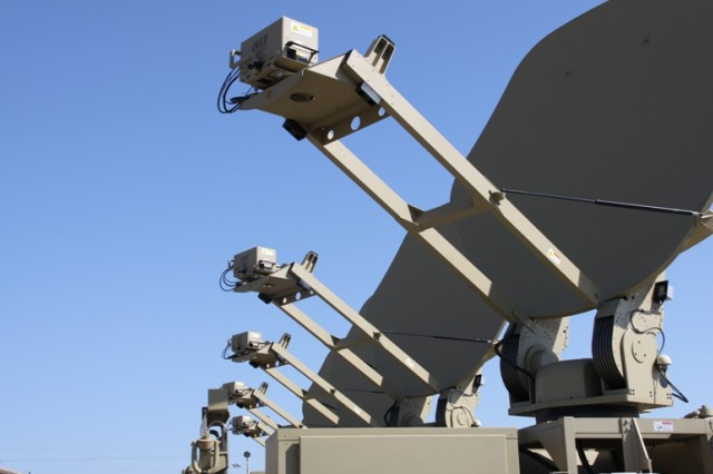 The Colorless Core routing enclave enables Soldiers to send information across the battlefield without fear of the enemy intercepting sensitive information. Pictured here, a row of Warfighter Information Network-Tactical Increment 1 Satellite Transportable Terminals reach for a blue sky.