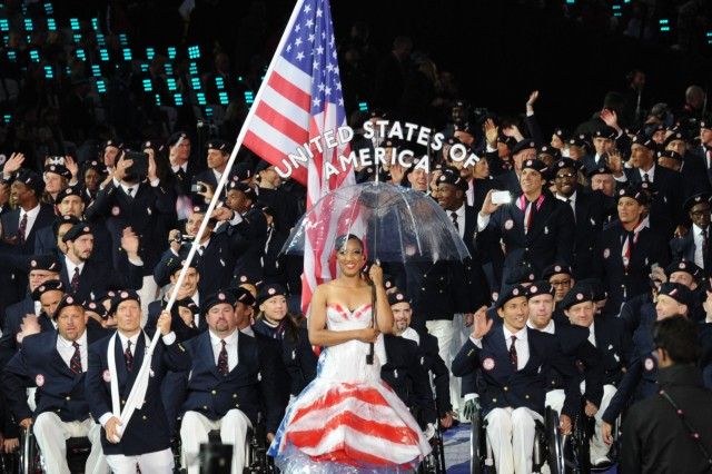 The U.S. flag is carried into the Olympic Stadium followed by the 227 American athletes named to the 2012 U.S. Paralympic Team.  America athletes are competing in 19 sports throughout the 11 days of competition.