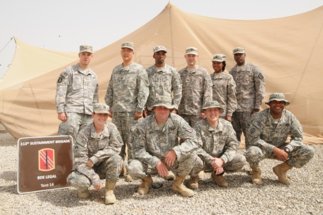 Camp Arifjan, Kuwait: Maj. Danny Britt, the 113th Sustainment Brigade's staff judge advocate, or senior attorney, runs a section of seasoned law professionals and first timers in military justice here. For the past six months, this team has ensured soldiers and commanders across the brigade receive the best legal advice and counsel available.
