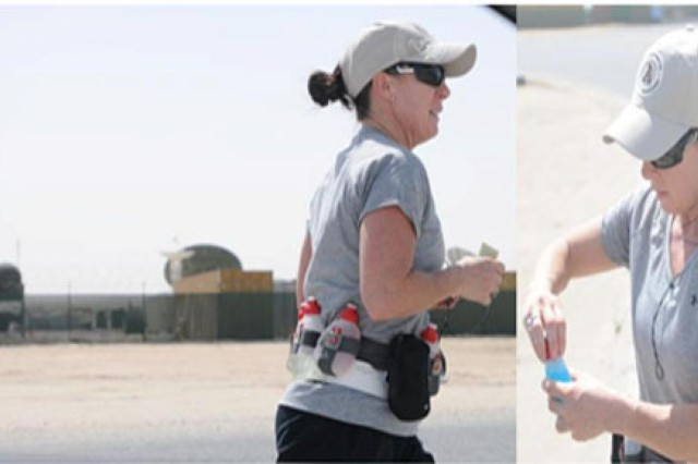 Sgt. 1st Class Rita Rice ran 100 miles around Camp Arifjan, Kuwait, in just over 24 hours, April 1, 2012. Each lap around the base was approximately seven miles. Rice dedicated her race to fallen comrades from North Carolina.