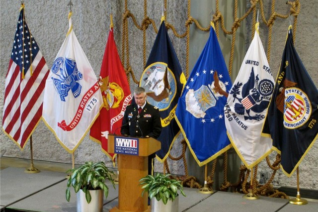 "Col. Peter Nielsen, chief of clinical operations for Western Regional Medical Command, was the guest speaker at a private opening reception of a special exhibition at the National World War II Museum in New Orleans. La. The exhibition, entitled ""Deadly Medicine: Creating the Master Race,"" was produced by the Smithsonian Holocaust Museum. Nielsen's presentation illuminated the ethical challenges faced by physicians in combat. ""It was truly an honor to participate in the opening ceremony of such an important exhibit at the National WWII Museum,"" Nielsen said. ""Having been born in New Orleans and much of my family from the city, it was humbling to share my personal experiences in combat and how the Army Medical Department has such a long and honorable history of care with compassion for all who are injured during combat and the need to ensure that military medicine remains true to its heritage."" Of the 300 total attendees, several distinguished guests were present including Dr Nick Mueller, chief executive officer of The National WWII Museum; Dr. Ben Sachs, Dean of Tulane School of Medicine; Jackie Clarkson, Council-at-Large Member of the City Council of New Orleans."