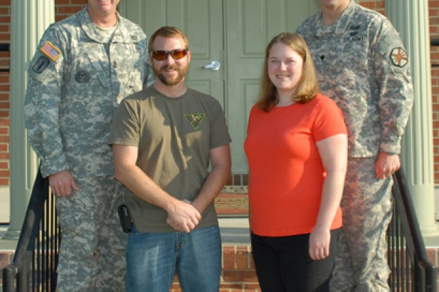 Fort A.P. Hill recognizes the DPTMS employees of the year. From Left to right, CSM Keith R. Whitcomb, Mr. Stephen Eger, Mrs. Jessica Glusing and LTC Peter E. Dargle.