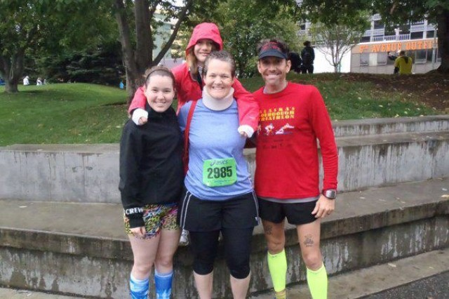 The running Wayfield Family recently traveled to Anchorage to compete in the Big Wild Life Run, Aug. 19. From left to right, Nicole, Emily and Laura ran the 5K, while Paul finished the half marathon, placing eighth overall and second in his age group. (Courtesy photo)