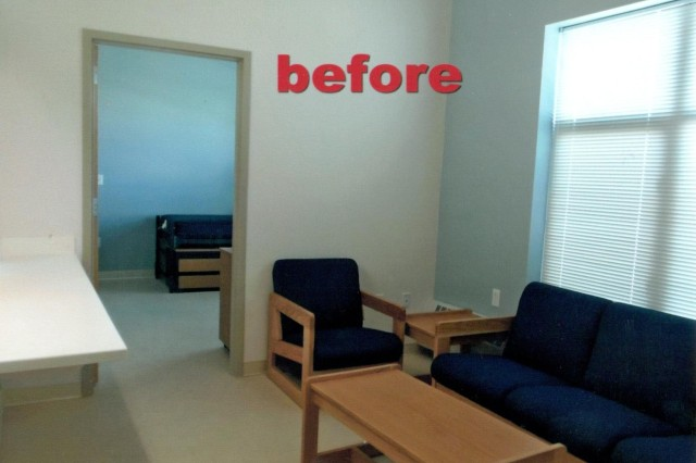 "Living area - BEFORE Although the barracks rooms at the Warrior Transition Battalion are clean, comfortable and accessible, the efforts of Stacey Garbett, said Col. Dennis LeMaster, commander, Medical Department Activity-Alaska, ""provided a sense of warmth, comfort and hope by turning these billets into homes."" (Courtesy photos)"