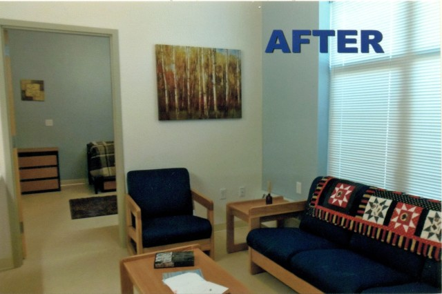 "Living area - AFTER Although the barracks rooms at the Warrior Transition Battalion are clean, comfortable and accessible, the efforts of Stacey Garbett, said Col. Dennis LeMaster, commander, Medical Department Activity-Alaska, ""provided a sense of warmth, comfort and hope by turning these billets into homes."" (Courtesy photos)"