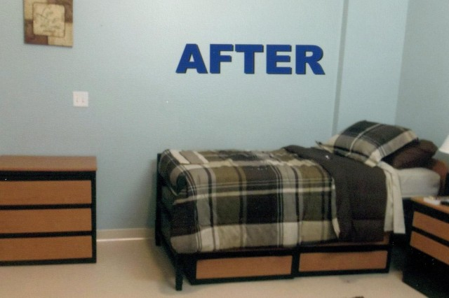 Bedroom - AFTER When Soldiers are brought to the Warrior Transition Battalion they are given a clean, comfortable barracks room. Thanks to the efforts of Stacey Garbett and the Home for Heroes project, a plain room can take on the feeling of home with sheets, pillows, a comforter and television. (Courtesy photos)