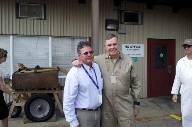Lt. Gen. William N. Phillips,  the Principal Military Deputy to the Assistant Security of the Army of Acquisition, gave an award to Joe Betteken, ATK Safety Manager, during Phillip's visit to Radford Army Ammunition Plant. Radford AAP is located in Radford, Va.