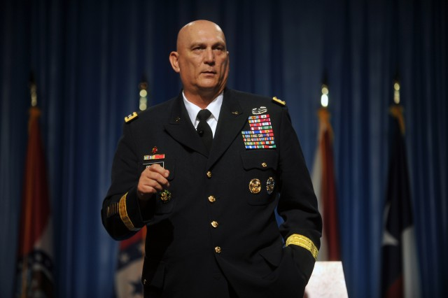 Gen. Raymond T. Odierno, the chief of staff of the Army, addresses the 134th National Guard Association of the United States General Conference in Reno, Nev., Sept. 10, 2012. About 3,700 Army and Air Guard officers, spouses, defense officials and others from all 50 states, Guam, Puerto Rico, the U.S. Virgin Islands and the District of Columbia registered.