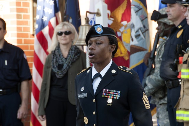 First Sgt. Sabrina Washington calls roll in honor of the War College alumni who perished in the terrorist attacks and in hostile actions since Sept. 11, 2001.