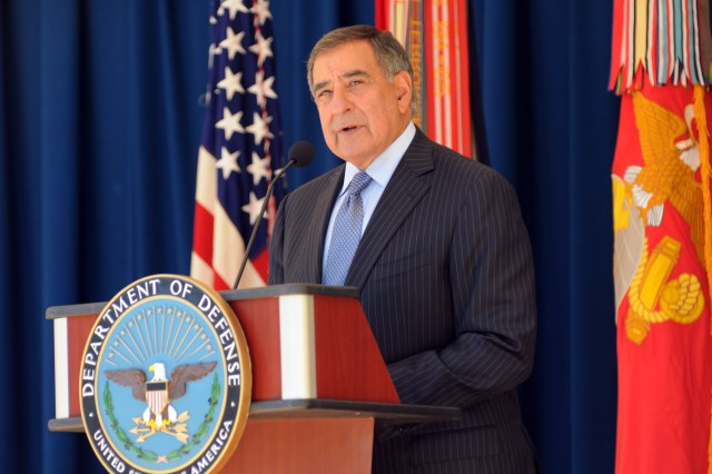 Secretary of Defense Leon Panetta speaks to a crowd at the Pentagon courtyard remembrance ceremony, Sept. 11, 2012.