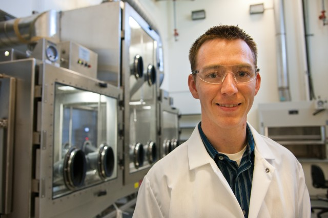 Brandon Bruey, a chemist with the U.S. Army Research, Development and Engineering Command, handles, synthesizes, purifies and destroys chemical agents.