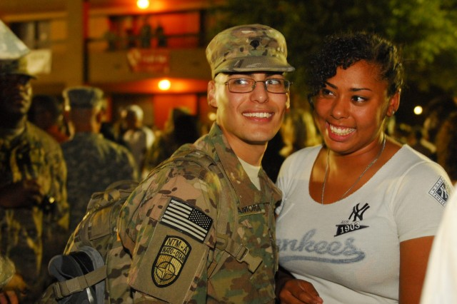 FORT HOOD, Texas - Mariaya Santiago accepted Spc. Alberto Sdelamora's, a motor transport operator in 575th Field Support Company, 1-21st Field Artillery Battalion, 41st Fires Brigade, marriage proposal after he returned from deployment to Afghanistan in support of Operation Enduring Freedom, Sept. 1.