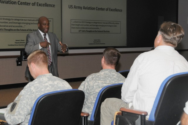 James F. Benn, deputy director of the Combined Arms Doctrine Directorate at Fort Leavenworth, Kan., briefed more than 200 USAACE staff and faculty on Doctrine 2015 Sept. 10 at the Seneff Aviation Warfighting Simulation Center.
